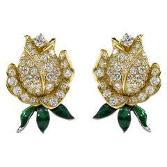 Oscar Heyman Gold Diamond and Enamel Rosebud Clip Earrings