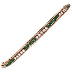 Oscar Heyman Gold Emerald and Diamond Bracelet
