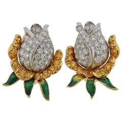 Oscar Heyman Gold Platinum Diamond Rose Flower Earrings