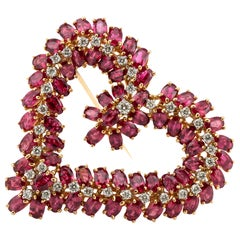 Oscar Heyman Gold, Platinum, Ruby and Diamond Heart Brooch