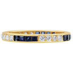 Oscar Heyman Gold Sapphire and Diamond Wedding Band Ring