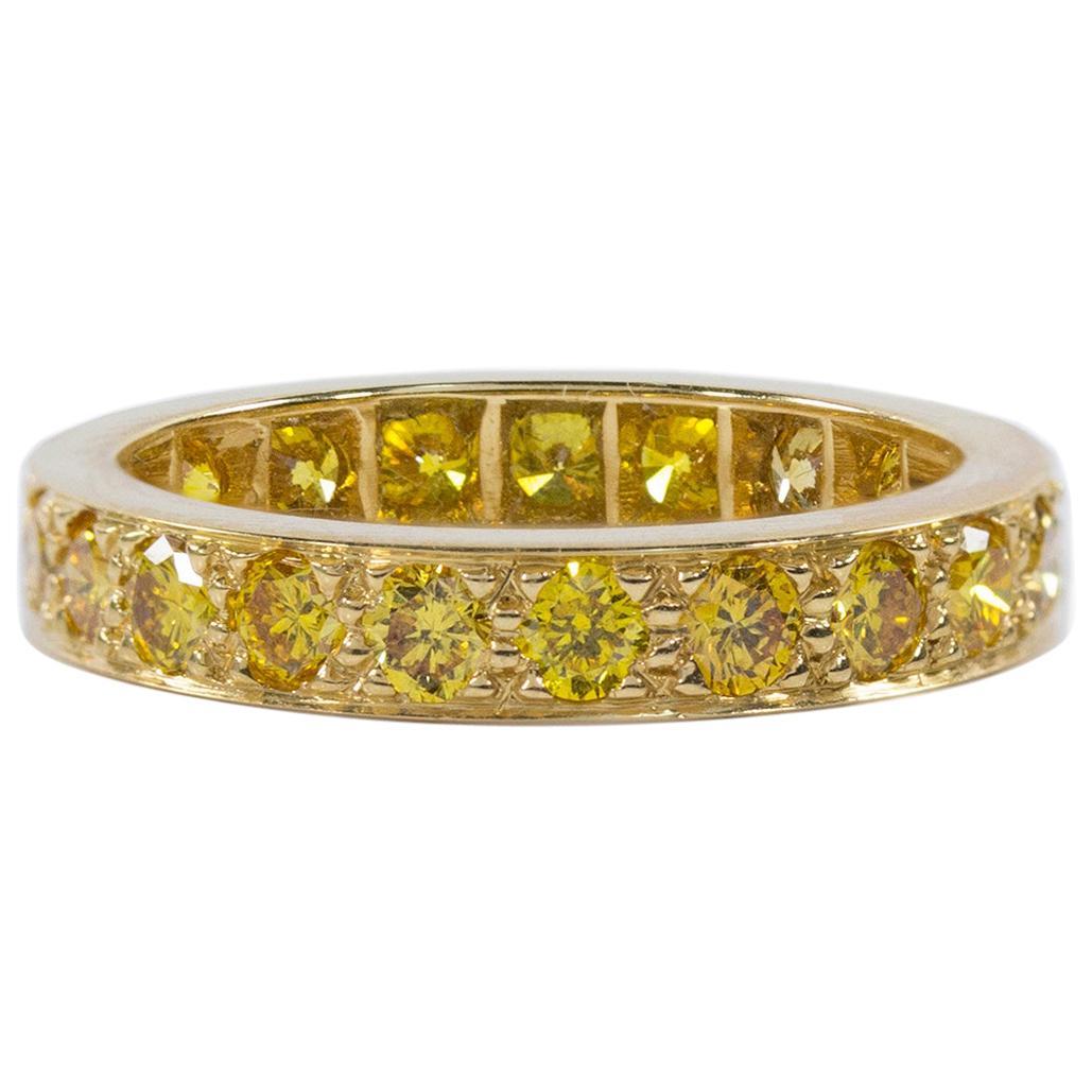 Oscar Heyman Gold Yellow Diamond Wedding Band Ring