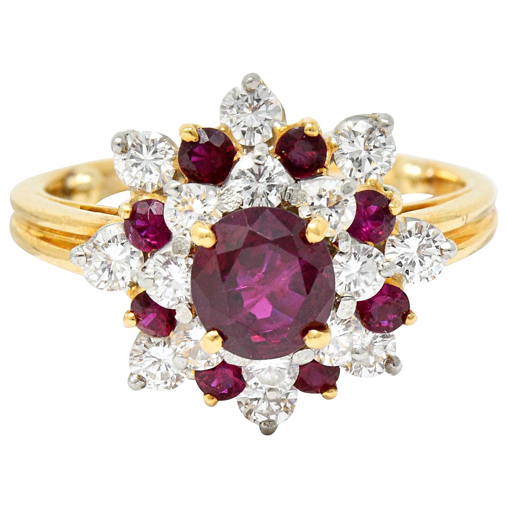 Oscar Heyman J.E. Caldwell Ruby Diamond 18 Karat Gold Platinum Cluster Ring GIA
