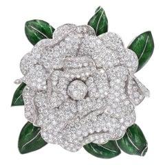 Oscar Heyman Camellia Diamond Brooch