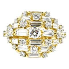 Oscar Heyman Wide 7 Row Diamond and 18 Karat Ring