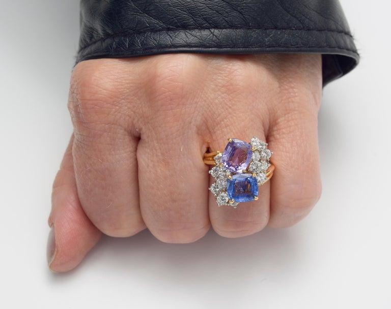 Oscar Heyman Multicolored Sapphire & Diamond Twin Ring For Sale 1