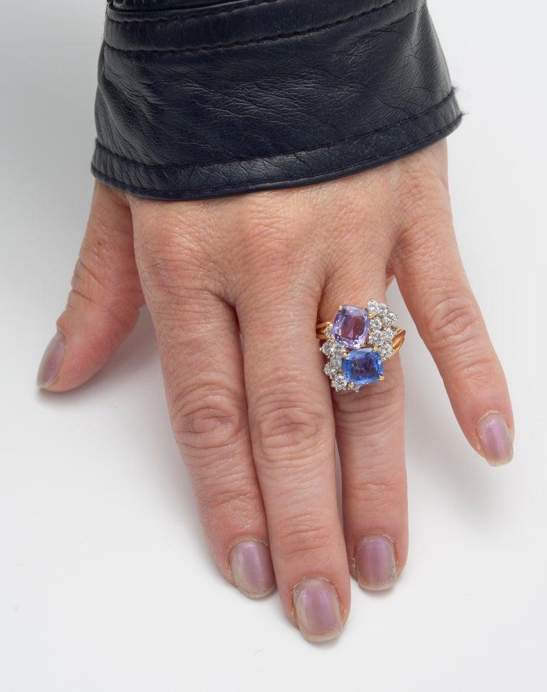 Oscar Heyman Multicolored Sapphire & Diamond Twin Ring For Sale 2
