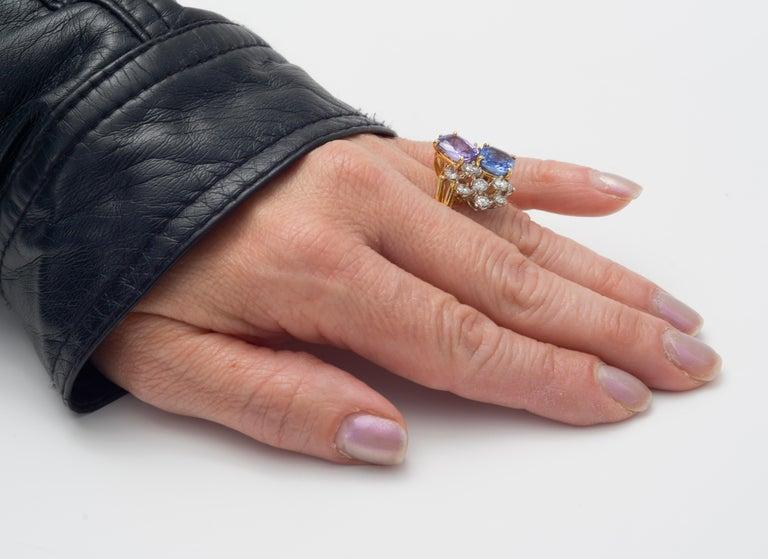 Oscar Heyman Multicolored Sapphire & Diamond Twin Ring For Sale 3