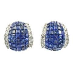 """Oscar Heyman """"Mystery"""" Set Sapphire and Diamond Earrings"""