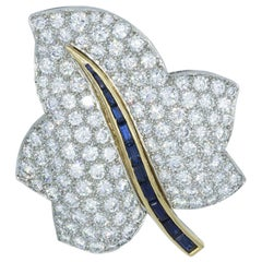 Oscar Heyman Pave Diamond Maple Leaf Brooch