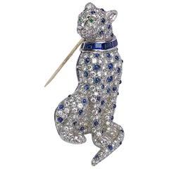 Oscar Heyman Plat. & 3.61Ct. Diamond Cheetah Brooch with 2.18Ct. Blue Sapphires