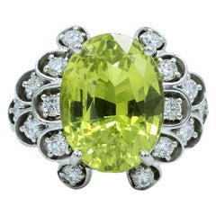 Oscar Heyman Platinum 11.01 Carat Chrysoberyl and Diamond Ring