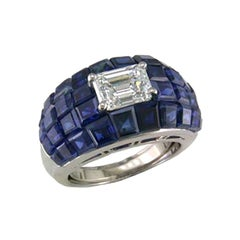 Oscar Heyman Platinum 1.51 Carat Diamond and Invisibly Set Sapphire Bombe Ring