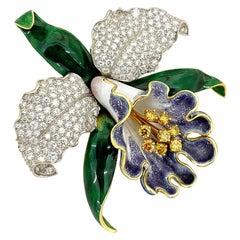 Oscar Heyman Platinum/18KT Gold Orchid Brooch with Fancy Yellow & White Diamond