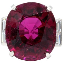 Oscar Heyman Platinum 24.25 Carat Rubellite and Diamond Cocktail Ring