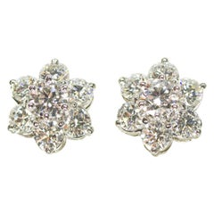 Oscar Heyman Platinum 3.08 Carat Round Diamond Flower Earrings