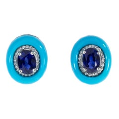 Oscar Heyman Platinum 3.08ct Oval Sapphire, Turquoise and Pave Diamond Earrings