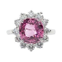 Oscar Heyman Platinum 3.52 Carat Ceylon Pink Sapphire and Diamond Ring