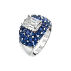 Oscar Heyman Platinum 3.65 Carat Diamond 10 Carat Sapphire Dome Ladies Ring