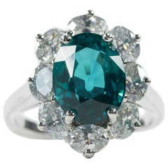 Oscar Heyman Platinum 4.32ct Indicolite Tourmaline and Diamond Entourage Ring