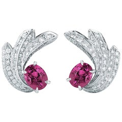 Oscar Heyman Platinum 4.70ct Pink Sapphire & Diamond Shooting Star Clip Earrings