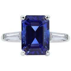 Oscar Heyman Platinum 5.25 Carat Ceylon Sapphire and Diamond Engagement Ring
