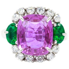 Oscar Heyman Platinum 5.78 Carat Unheated Cushion Pink Sapphire and Emerald Ring