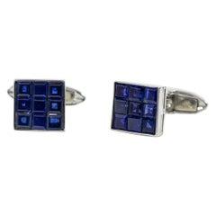 Oscar Heyman Platinum 6.90 Carat Invisibly Set Sapphire Cufflinks