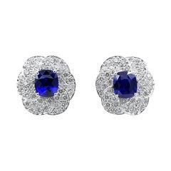 Oscar Heyman Platinum 7.20tcw Ceylon Sapphire & Pave Flower Earrings