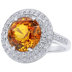 Oscar Heyman Platinum 7.64 Carat Orange Sapphire and Diamond Ring