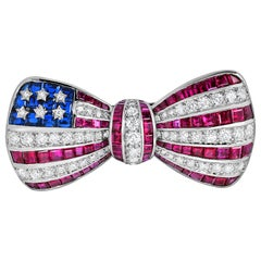 Oscar Heyman Platinum American Flag Bow Tie Brooch