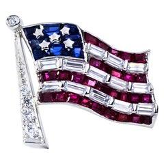 Oscar Heyman Platinum American Flag Ruby, Sapphire, and Diamond Pin