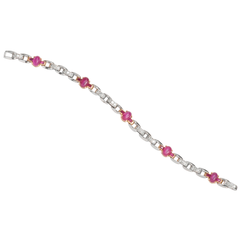 Oscar Heyman Platinum and 18 Karat Gold Cabochon Star Ruby and Diamond Bracelet