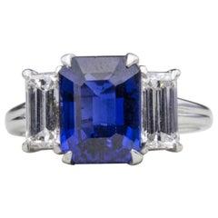 Oscar Heyman Platinum and 18 Karat White Gold Sapphire and Diamond Ring