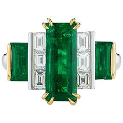 Oscar Heyman Platinum and 18 Karat Yellow Gold Baguette Emerald and Diamond Ring