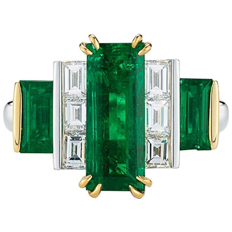 Platinum and gold baguette-emerald and -diamond ring, 2015