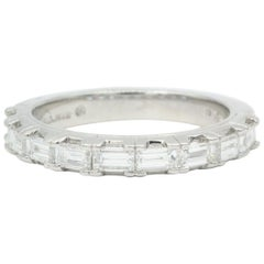 Oscar Heyman Platinum Baguette Diamond Partway Wedding Band Ring