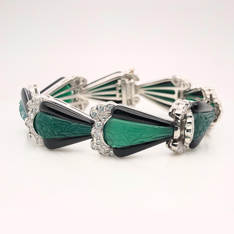 Contemporary Oscar Heyman Platinum Carved Onyx Bracelet