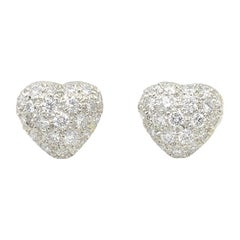 Oscar Heyman Platinum Diamond Heart Earrings