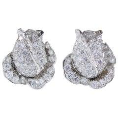 Oscar Heyman Platinum Diamond Rosebud Clip Earrings