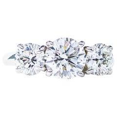 Oscar Heyman Platinum GIA Certified Round Diamond Three-Stone Engagement Ring
