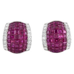Oscar Heyman Platinum Invisible Setting with Ruby and Diamonds Earrings