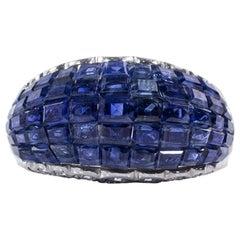 Oscar Heyman Platinum Invisibly Set Sapphire Bombe Ring