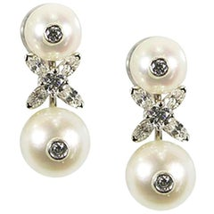 Oscar Heyman Platinum Pearl and Diamond Clip Earrings
