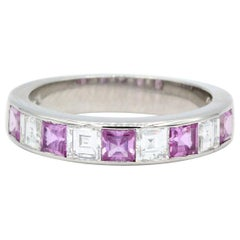 Oscar Heyman Platinum Pink Sapphire and Diamond Partway Wedding Band Ring