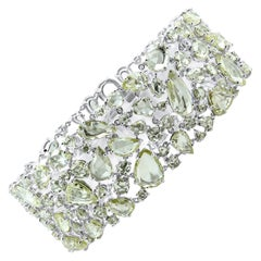 Oscar Heyman Platinum Rose Cut Diamond Wide Bracelet