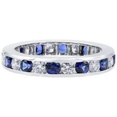Oscar Heyman Platinum Round Sapphire and Diamond Wedding Band Ring