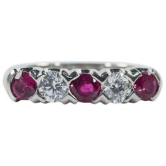 Oscar Heyman Platinum Ruby and Diamond Partway Wedding Band Ring