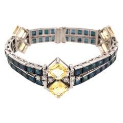 Oscar Heyman Platinum Sapphire and Diamond Bracelet