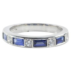 Oscar Heyman Platinum Sapphire and Diamond Partway Wedding Band Ring